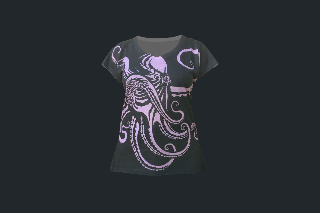 Purple Octopus - V-neck Tee - Ladies Apparel - Artist - Ray Domingo - Gulfport, FL