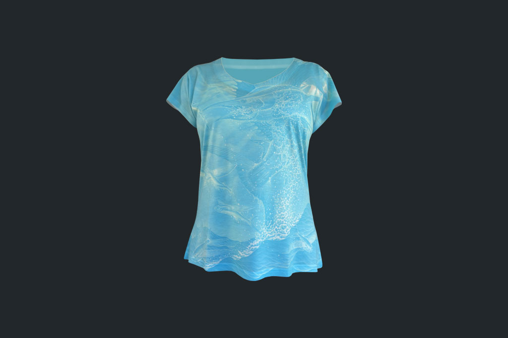 Blue Allover Sailfish - V-neck Tee - Ladies Apparel - Artist - Ray Domingo - Gulfport, FL
